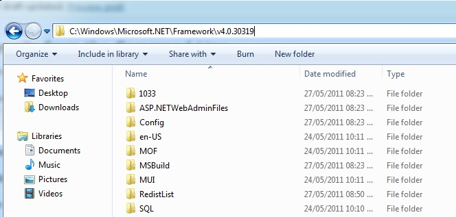 The Path to the .Net Framework installation