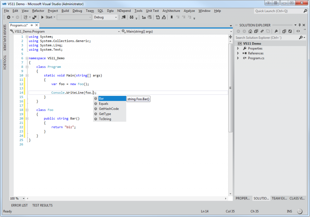 Visual Studio 11 Code View