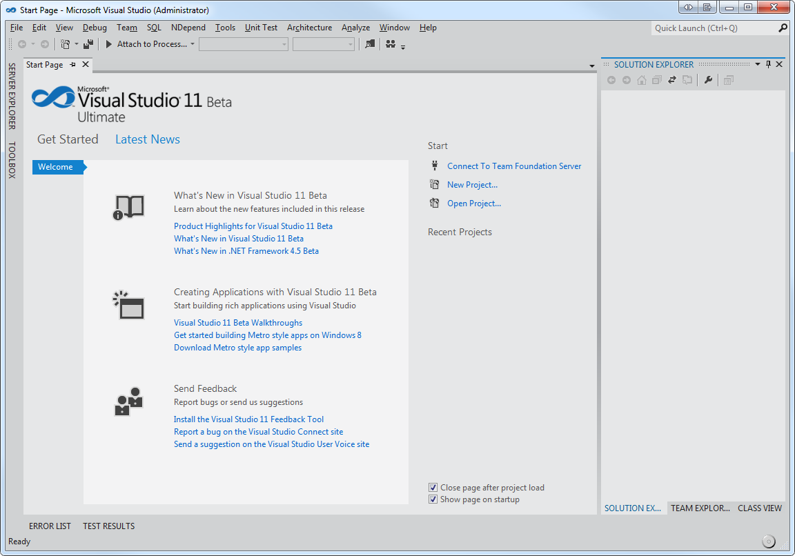 Visual Studio 11 Start Menu